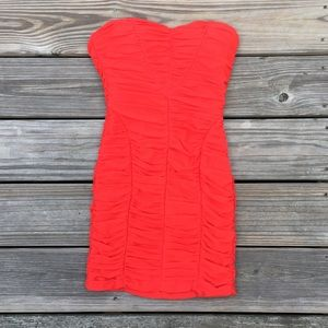 Bebe red strapless mini dress